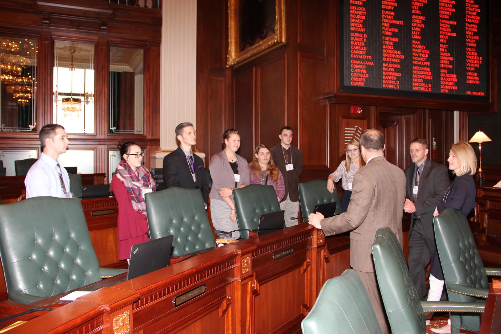 Students speaking with Senator Schimpf