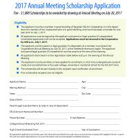 Picture of 2017 Annual Meeting Scholarship Application